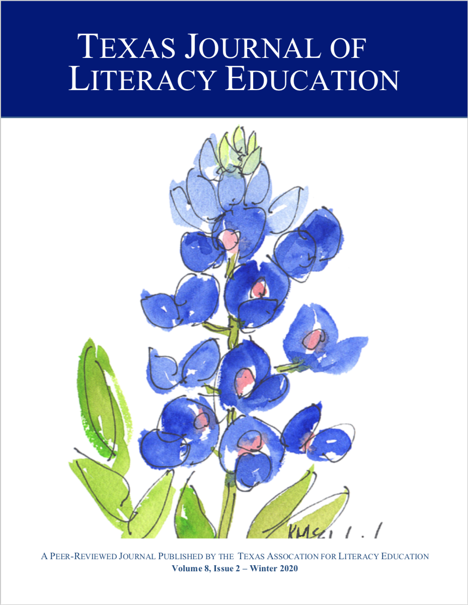 Cover image of TJLE Volume 8 Issue 2 with image of a watercolor bluebonnet in the center