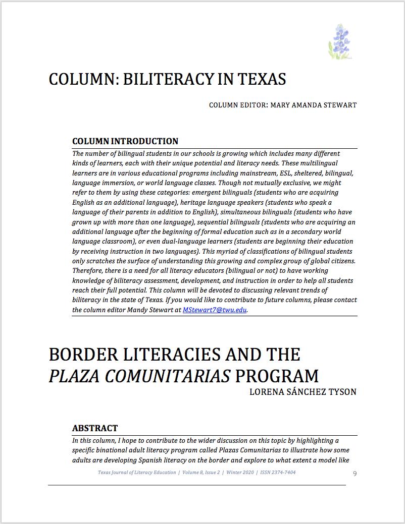 First page of Sánchez Tyson Biliteracy Column