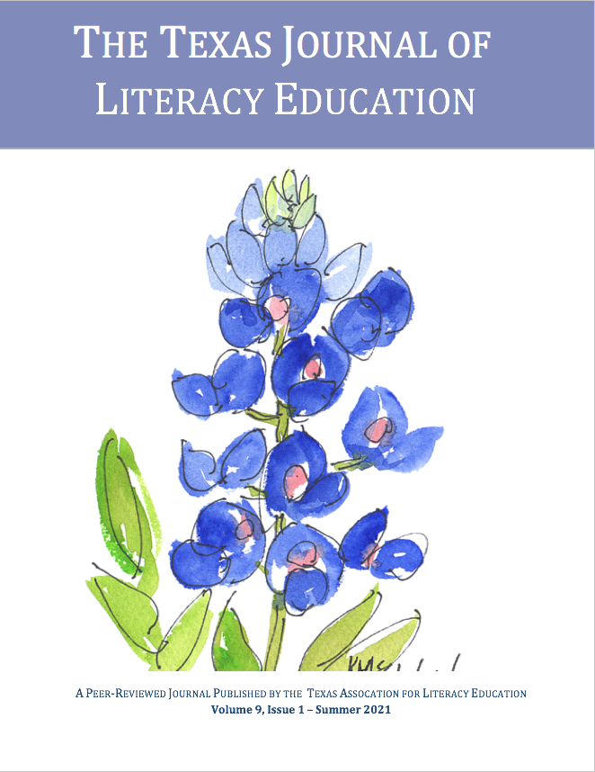 Cover image of this issue of Texas Journal of Literacy Education with a watercolor image of bluebonnets