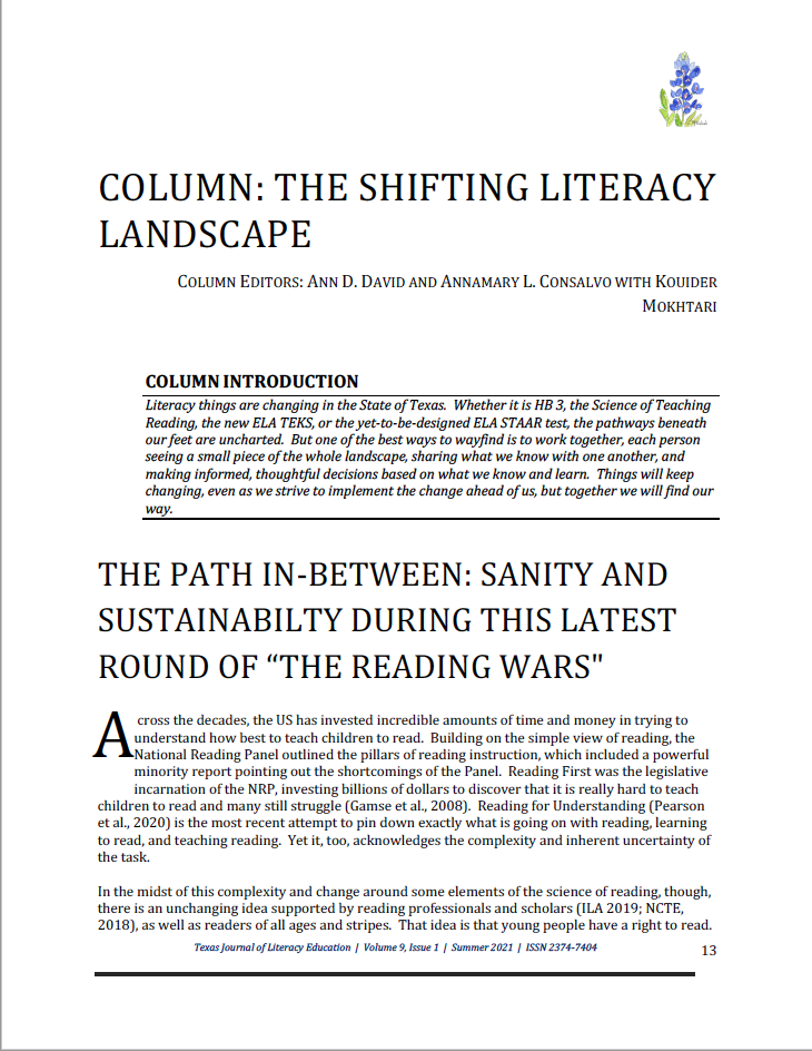 """First page of the column """"The Shifting Literacy Landscape"""""""