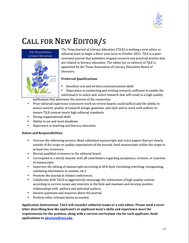 Image of the Call for Editors