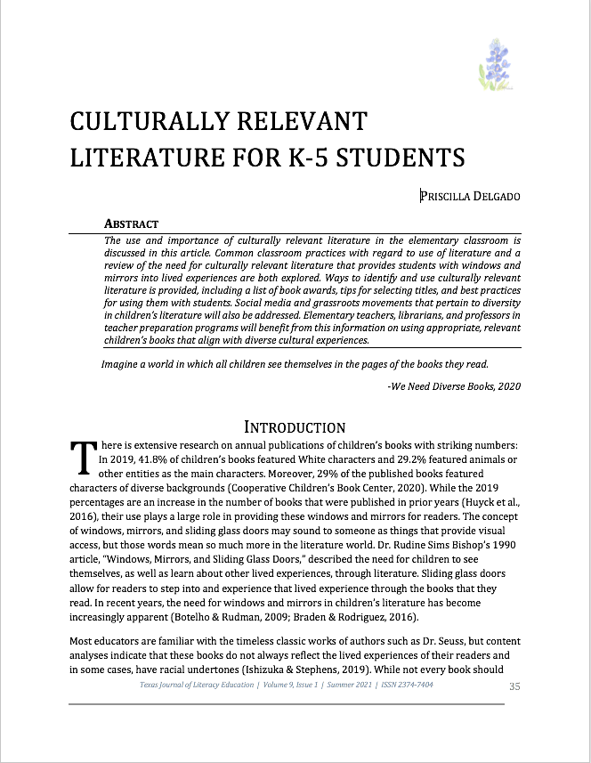 """First page of the article """"Culturally Relevant Literaturer for K-5 Students"""
